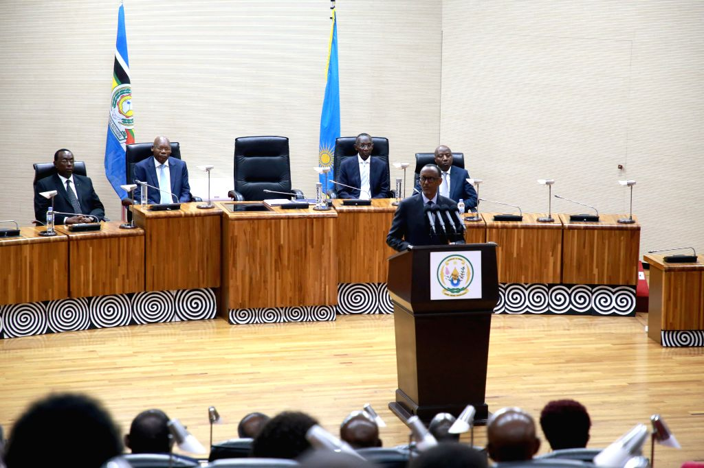 KIGALI, Oct. 17, 2019 - Rwanda's President Paul Kagame delivers remarks after a swearing-in ceremony of senators and the election of new Senate president and vice-presidents in Kigali, Rwanda, on ...