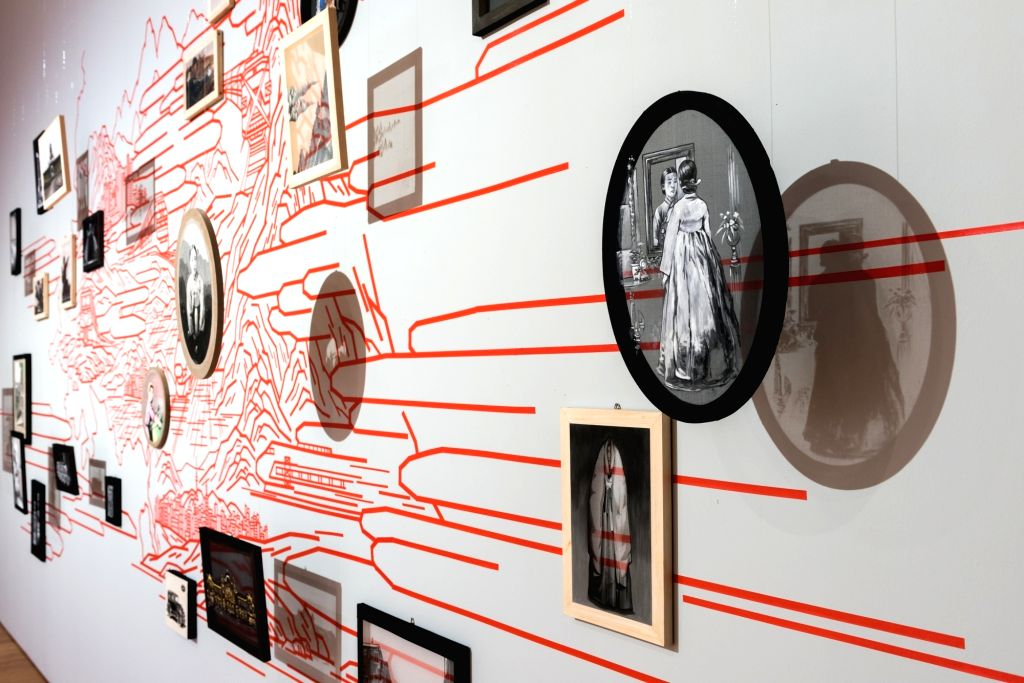 KIM BoMin The Trains Installation of drawings on the wall  Dimension variable. (Source: Korean Cultural Centre India)
