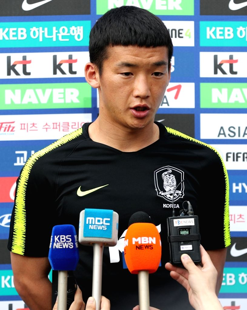 Kim Min-woo, a player of South Korea's national football team speaks to reporters in the southeastern city of Daegu on May 29, 2018, as he takes part in a training session in the run-up to the ...