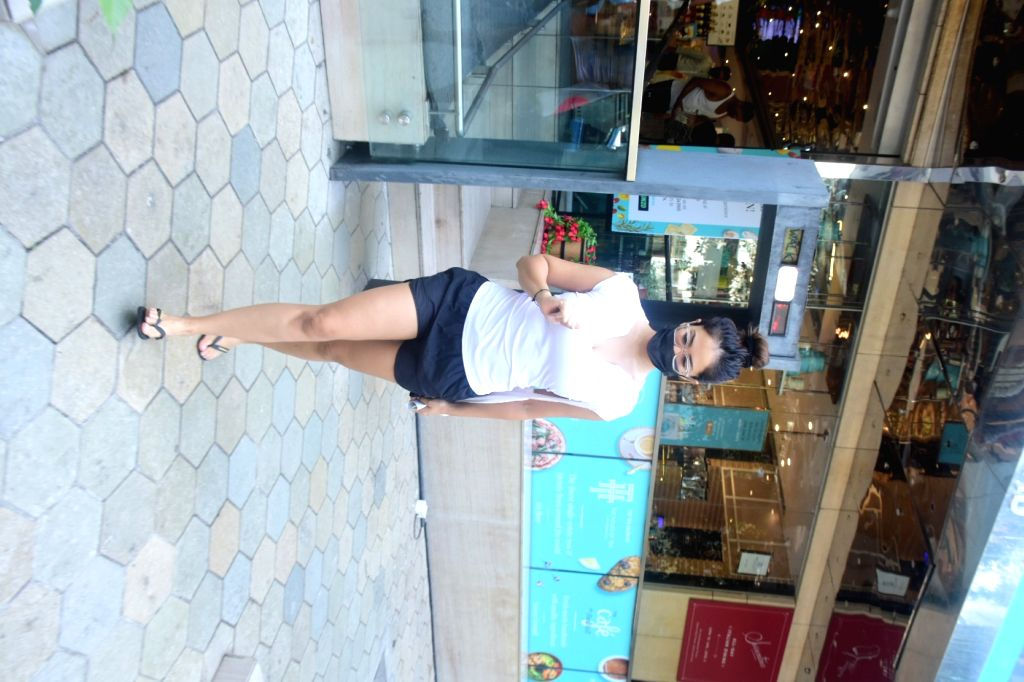 Kim Sharma Spotted Outside Food Hall At Santacruz on 08 May,2021.