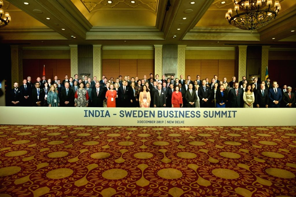 King Carl XVI Gustaf and Queen Silvia of Sweden with the Swedish Business Delegation at the inaugural session of India-Sweden Business Summit in New Delhi on Dec 3, 2019.