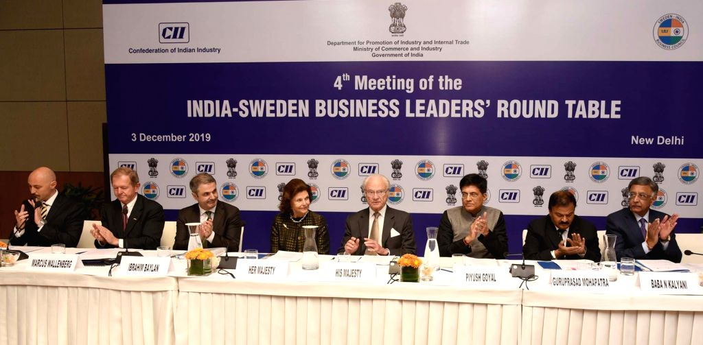 King Carl XVI Gustaf and Queen Silvia of Sweden and the Union Minister for Railways and Commerce & Industry Piyush Goyal at the 4th meeting of the India-Sweden Business ers' Round ...