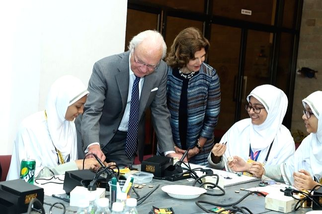 King Carl XVI Gustaf and Queen Silvia of Sweden at a workshop on gender equality in education and workplace organised during Tekla Festival in Mumbai on Dec 5, 2019.