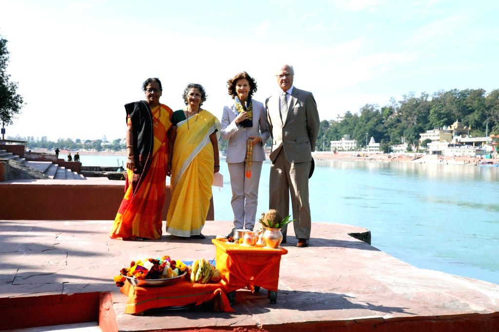King Carl XVI Gustaf and Queen Silvia of Sweden participte in the sacred Ganga puja at the ghats of the Ganges in Rishikesh on Dec 5, 2019.