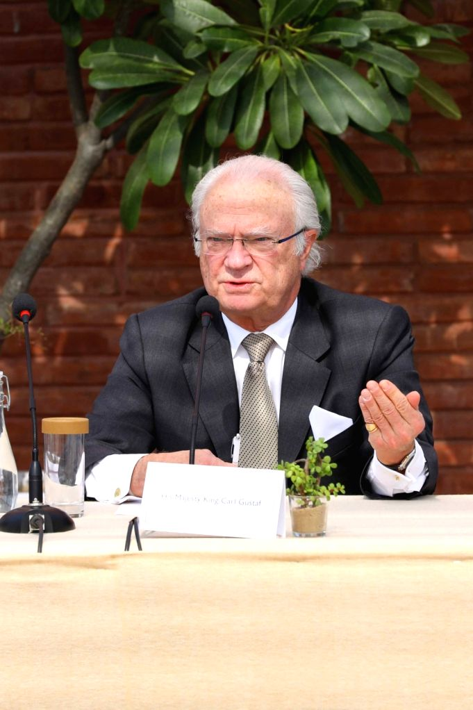King Carl XVI Gustaf of Sweden addresses during Indo-Swedish dialogue on ???Tackling emissions and air pollution through the circular economy approach??? at India Habitat Centre in New ...