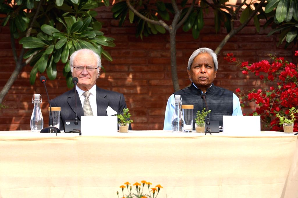 King Carl XVI Gustaf of Sweden and Principal Scientific Adviser to the Government of India Prof. K. Vijay Raghavan during Indo-Swedish dialogue on ???Tackling emissions and air pollution ...