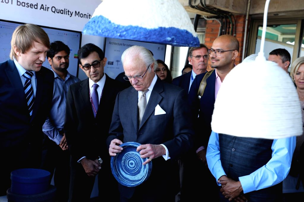 King Carl XVI Gustaf of Sweden during Indo-Swedish dialogue on ???Tackling emissions and air pollution through the circular economy approach??? at India Habitat Centre in New Delhi on Dec ...
