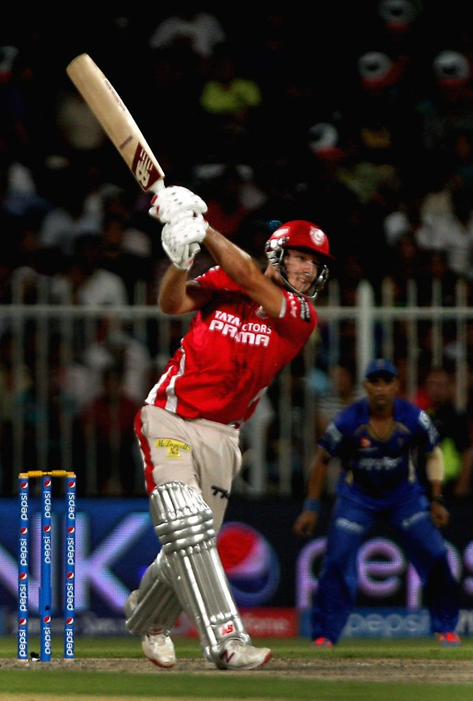 Kings XI Punjab batsman David Miller in action during the seventh match of IPL 2014 between Rajasthan Royals and Kings XI Punjab, played at Sharjah Cricket Stadium in Sharjah of United Arab Emirates . - David Miller