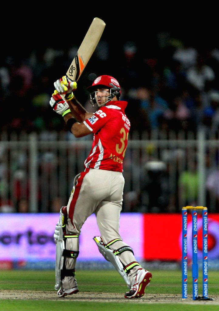 Kings XI Punjab batsman Glenn Maxwell in action during the seventh match of IPL 2014 between Rajasthan Royals and Kings XI Punjab, played at Sharjah Cricket Stadium in Sharjah of United Arab Emirates - Glenn Maxwell