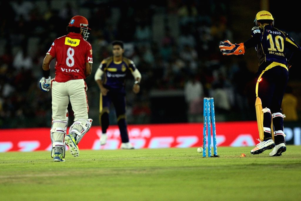 Kings XI Punjab batsman Murali Vijay gets dismissed during an IPL match between Kings XI Punjab and Kolkata Knight Riders at Punjab Cricket Association IS Bindra Stadium in Mohali on April ... - Murali Vijay