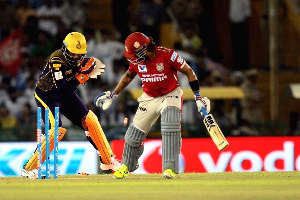 Kings XI Punjab batsman Murali Vijay gets dismissed during an IPL match between Kings XI Punjab and Kolkata Knight Riders at Punjab Cricket Association IS Bindra Stadium in Mohali on April ... - Murali Vijay