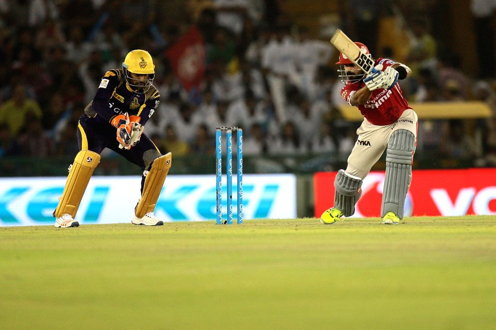 Kings XI Punjab batsman Murali Vijay in action during an IPL match between Kings XI Punjab and Kolkata Knight Riders at Punjab Cricket Association IS Bindra Stadium in Mohali on April 19, ... - Murali Vijay