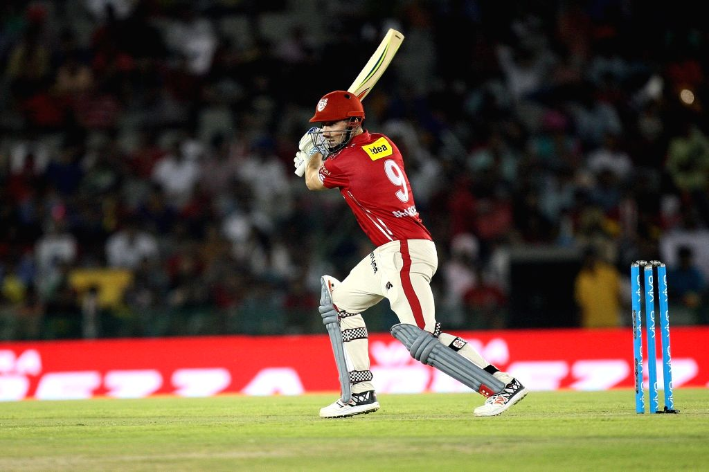 Kings XI Punjab batsman Shaun Marsh in action during an IPL match between Kings XI Punjab and Kolkata Knight Riders at Punjab Cricket Association IS Bindra Stadium in Mohali on April 19, 2016. - Shaun Marsh