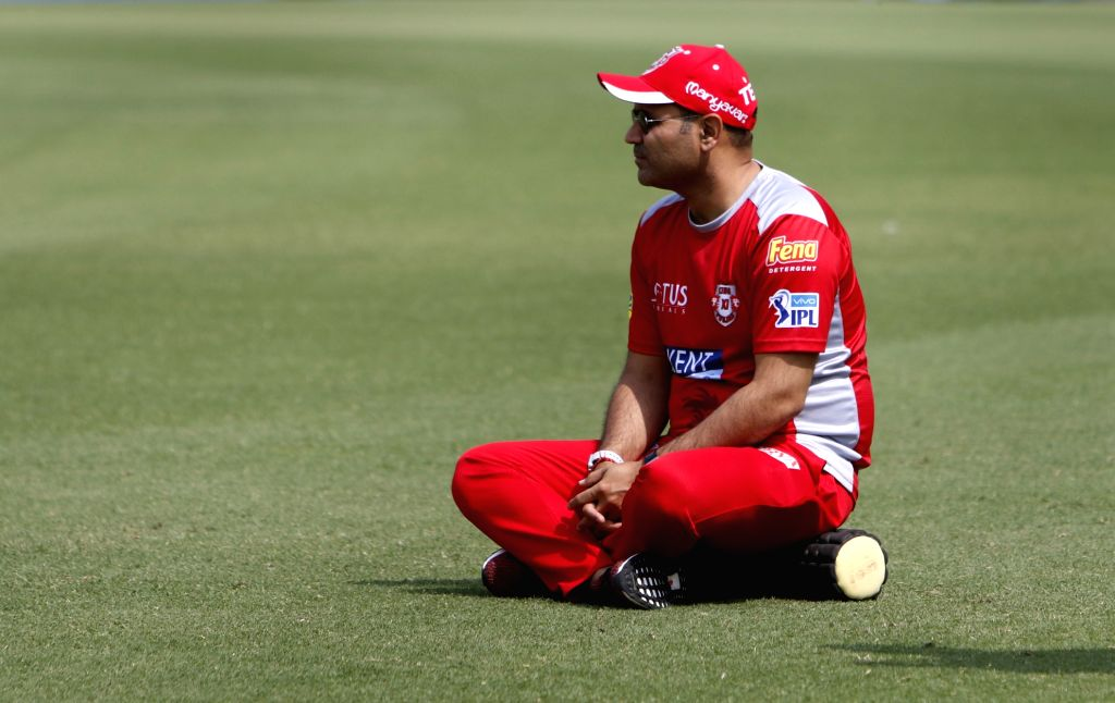 Kings XI Punjab mentor Virender Sehwag during a practice session in Mohali on April 7, 2018.