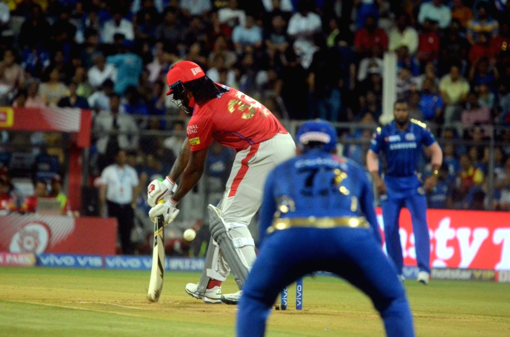 Kings XI Punjab's Chris Gayle in action during the 24th match of IPL 2019 between Mumbai Indians and Kings XI Punjab at Wankhede Stadium in Mumbai on April 10, 2019.