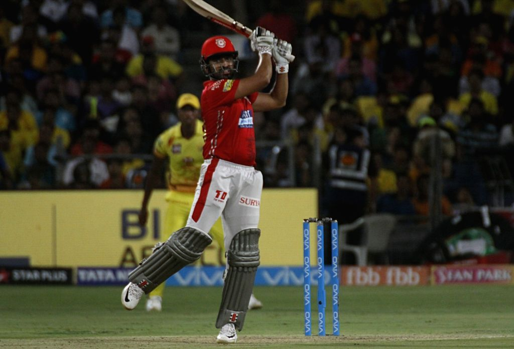 Kings XI Punjab's Karun Nair in action during an IPL 2018 match between Chennai Super Kings and Kings XI Punjab at Maharashtra Cricket Association Stadium in Pune on May 20, 2018.