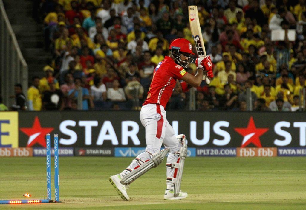 Kings XI Punjab's Lokesh Rahul gets dismissed during an IPL 2018 match between Chennai Super Kings and Kings XI Punjab at Maharashtra Cricket Association Stadium in Pune on May 20, 2018. - Lokesh Rahul