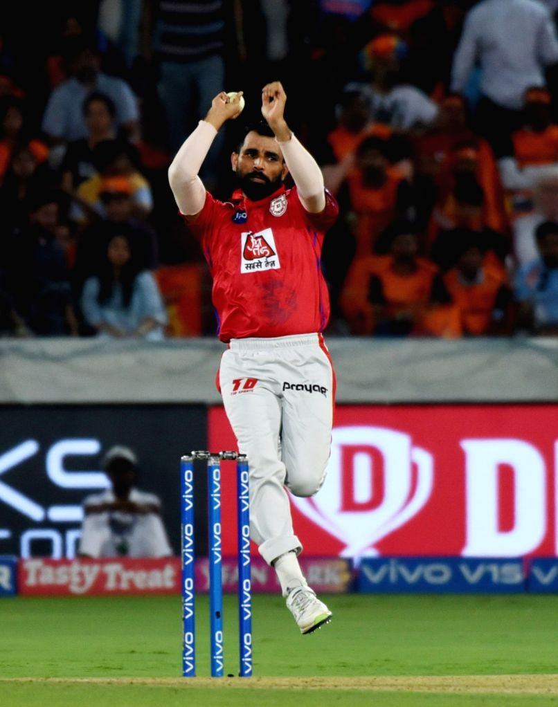 Kings XI Punjab's Mohammed Shami in action during the 48th match of IPL 2019 between Sunrisers Hyderabad and Kings XI Punjab at Rajiv Gandhi International Stadium in Hyderabad, on April ...