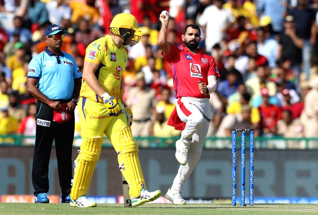 Kings XI Punjab's Mohammed Shami in action during the 55th match of IPL 2019 between Chennai Super Kings and Kings XI Punjab at Punjab Cricket Association IS Bindra Stadium in Mohali, on May ...