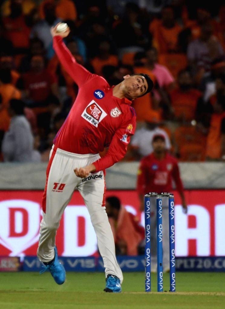 Kings XI Punjab's Mujeeb Ur Rahman in action during the 48th match of IPL 2019 between Sunrisers Hyderabad and Kings XI Punjab at Rajiv Gandhi International Stadium in Hyderabad, on April ...