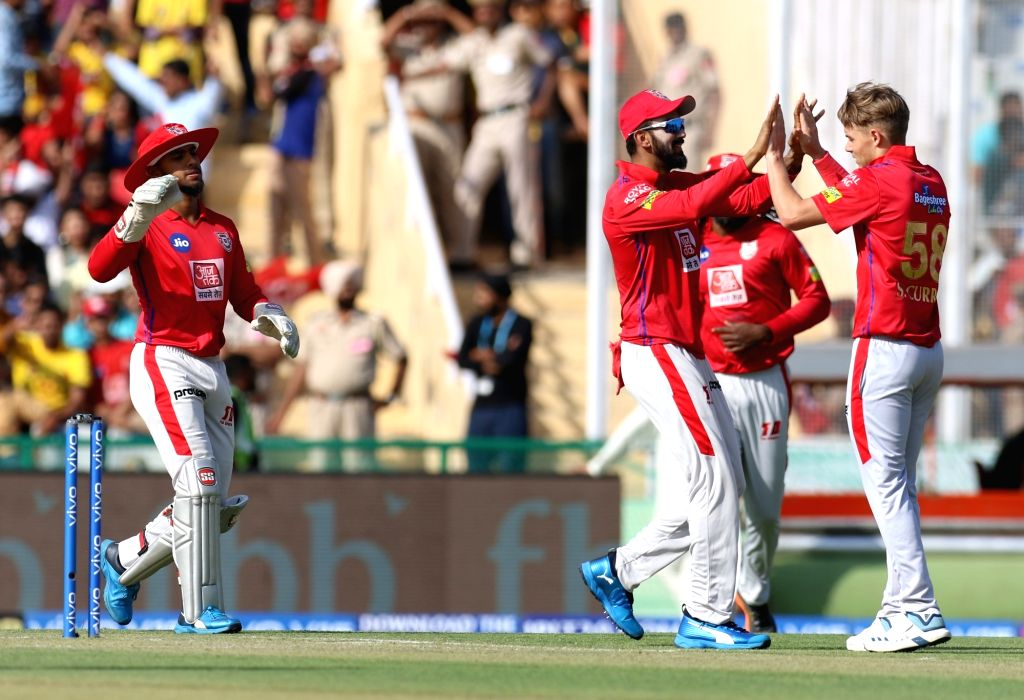 Kings XI Punjab's Sam Curran celebrates fall of Shane Watson's wicket during the 55th match of IPL 2019 between Chennai Super Kings and Kings XI Punjab at Punjab Cricket Association IS Bindra ...