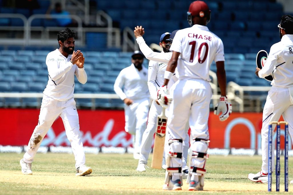 Kingston (Jamaica): India's Ravindra Jadeja celebrates fall of a wicket on day 4 of the 2nd test match between India and West Indies at Sabina Park in Jamaica, on Sept 2, 2019. (Photo: Twitter/@BCCI) - Ravindra Jadeja