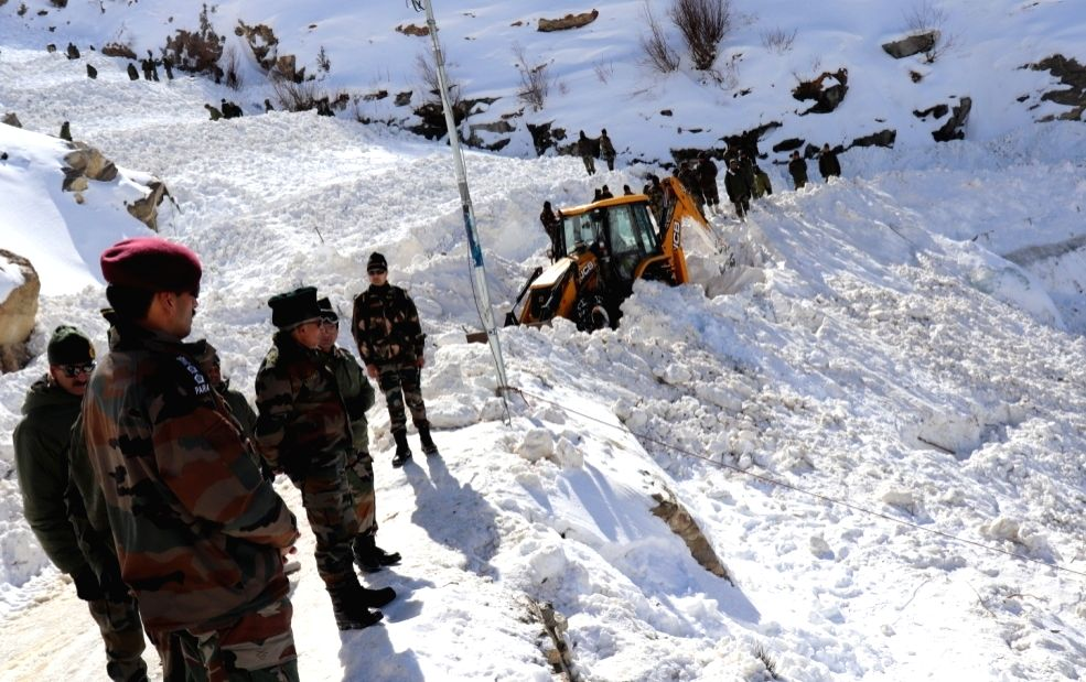 Kinnaur: Search operations underway to find five soldiers reported missing in the snow-bound Himalayan terrain of Himachal Pradesh's Kinnaur district where an avalanche hit them earlier this week. (Photo: IANS/DPRO)