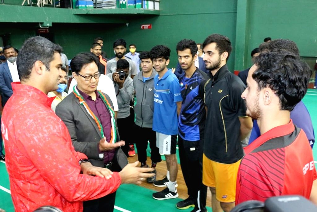 Kiren Rijiju, Minister of State (I/C) Youth Affairs and Sports interacting with badminton players during inauguration of Khelo India Badminton Centre at SAI (Sports Authority of India) , in Bengaluru ...