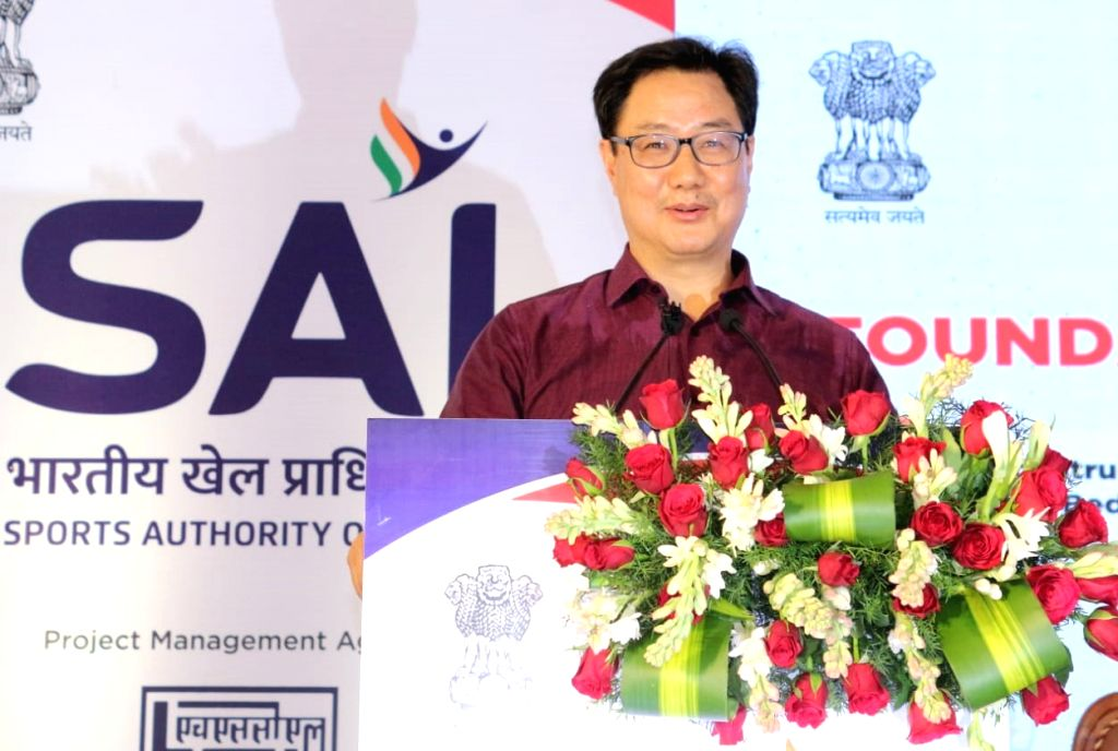 Kiren Rijiju, Minister of State (I/C) Youth Affairs and Sports inaugurating laying foundation stone for the the construction of 330 bedded hostel, Synthetic Athletic track and Up-gradation of Kitchen ... - Narayan Gowda