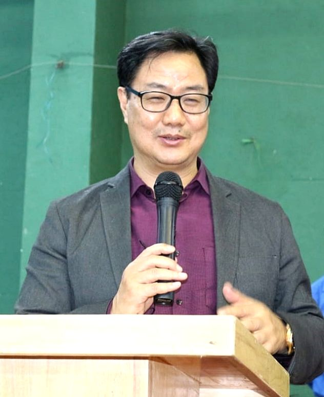 Kiren Rijiju, Minister of State (I/C) Youth Affairs and Sports interacting with badminton players during inauguration of Khelo India Badminton Centre at SAI (Sports Authority of India) , in Bengaluru on Monday 22nd  February 2021. (Photo: IANS)
