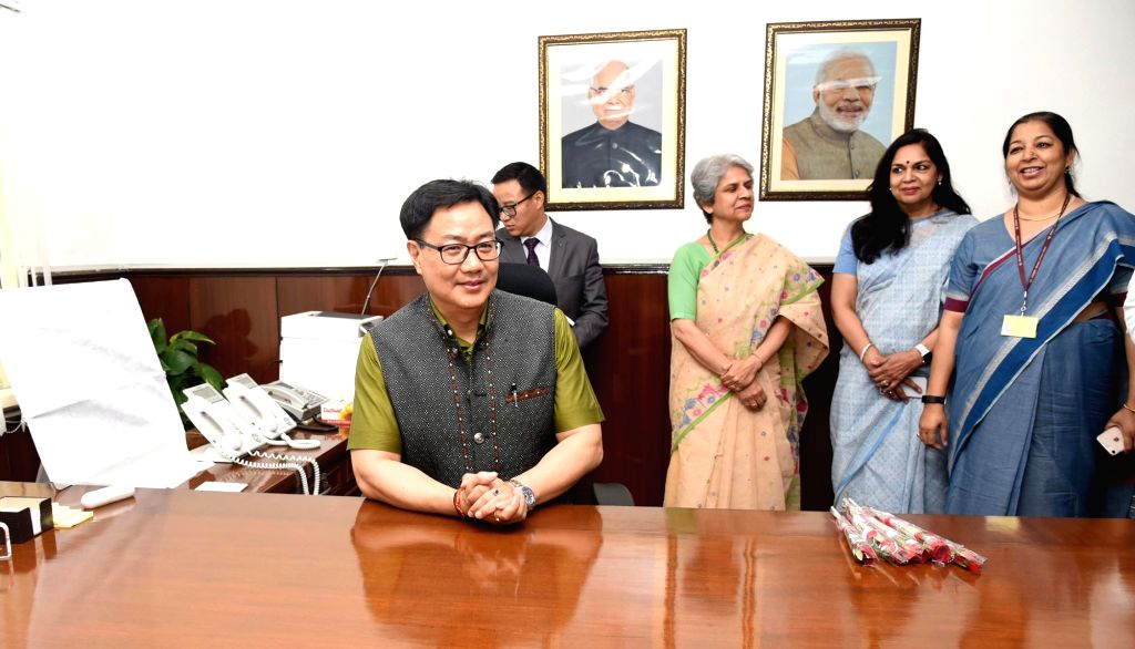 Kiren Rijiju takes charge as the Minister of State (Independent Charge) for Youth Affairs and Sports in New Delhi on May 31, 2019.