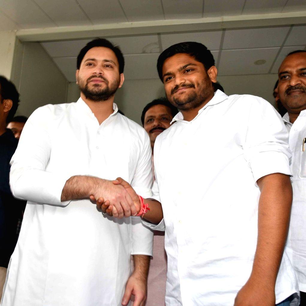 Kisan Kranti Sena National President and Patidar leader Hardik Patel meets Rashtriya Janta Dal leader Tejashwi Yadav, in Patna on June 30, 2018. - Hardik Patel and Tejashwi Yadav