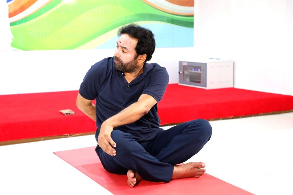 Kishan Reddy celebrates yoga day with Hyderabad. - Kishan Reddy