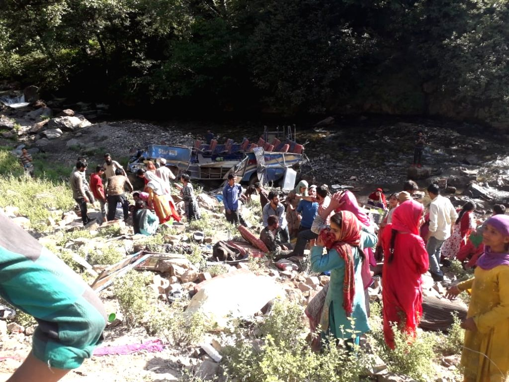 Kishtwar: The site where a mini bus travelling from Keshwan area to Kishtwar town went out of the driver's control and plunged into a gorge near Sirgwari village in Jammu and Kashmir's Kishtwar district, on July 1, 2019. Thirty three people were kill