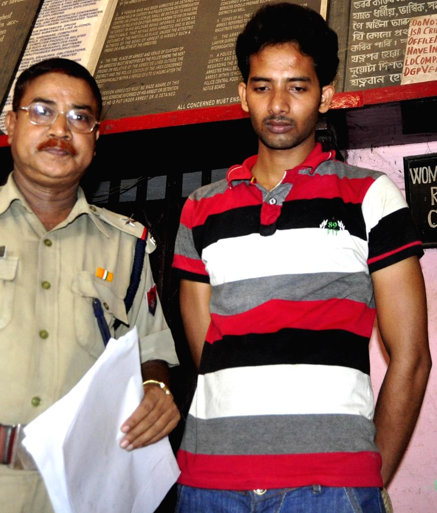 Kislay Kumar Dubey, a CRPF jawan who was apprehended by the Government Railway Police with an illegal pistol and two empty magazines from Guwahati Railway station on the night of 7th September being . - Kislay Kumar Dubey