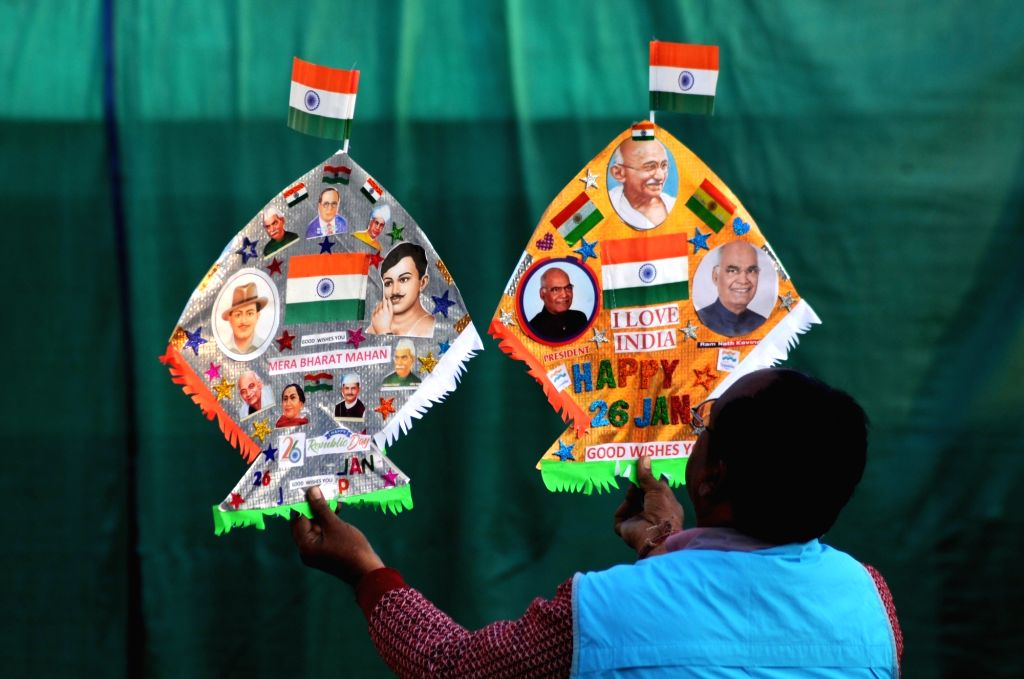 Kitemaker Jagmohan Kanojia displays kites in the colours of the national flag and adorned with images of  president of india Ram Nath Kovind and freedom fighters and others  on the eve of ... - Nath Kovind