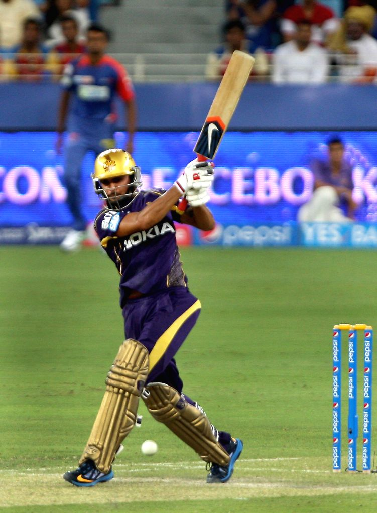 KKR player Manish Pandey in action during the sixth match of IPL 2014 between Delhi Daredevils and Kolkata Knight Riders, played at Dubai International Cricket Stadium in Dubai of United Arab ... - Manish Pandey
