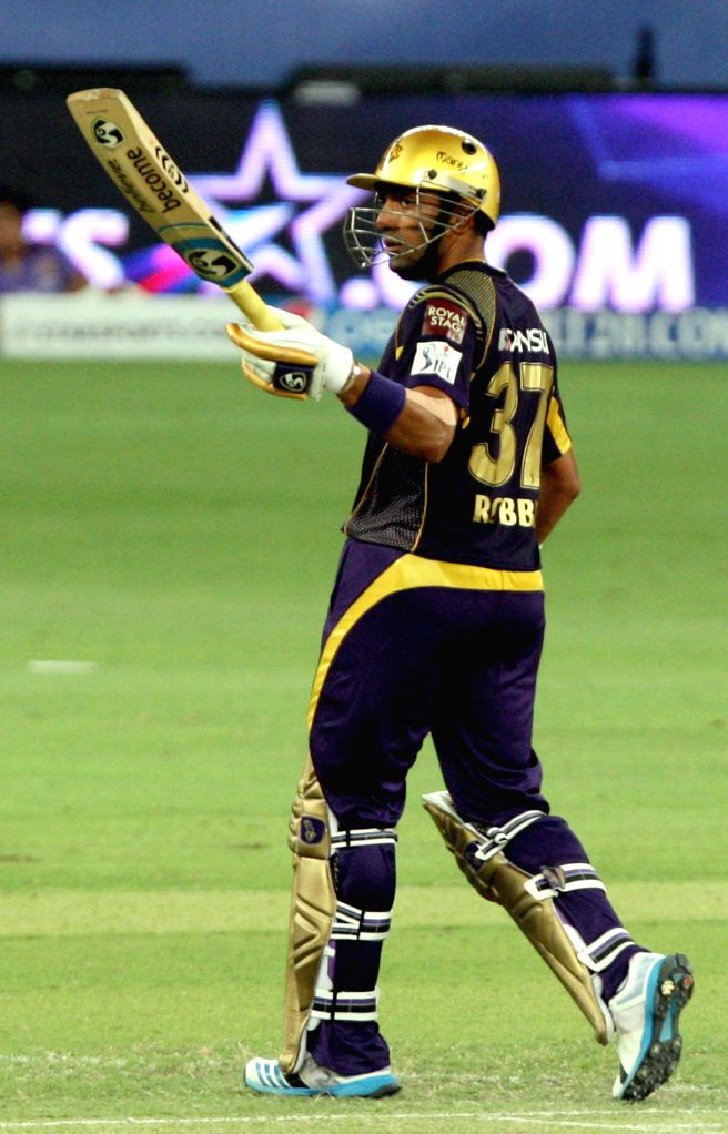 KKR player Robin Uthappa gestures after scoring a half century during the sixth match of IPL 2014 between Delhi Daredevils and Kolkata Knight Riders, played at Dubai International Cricket Stadium in .