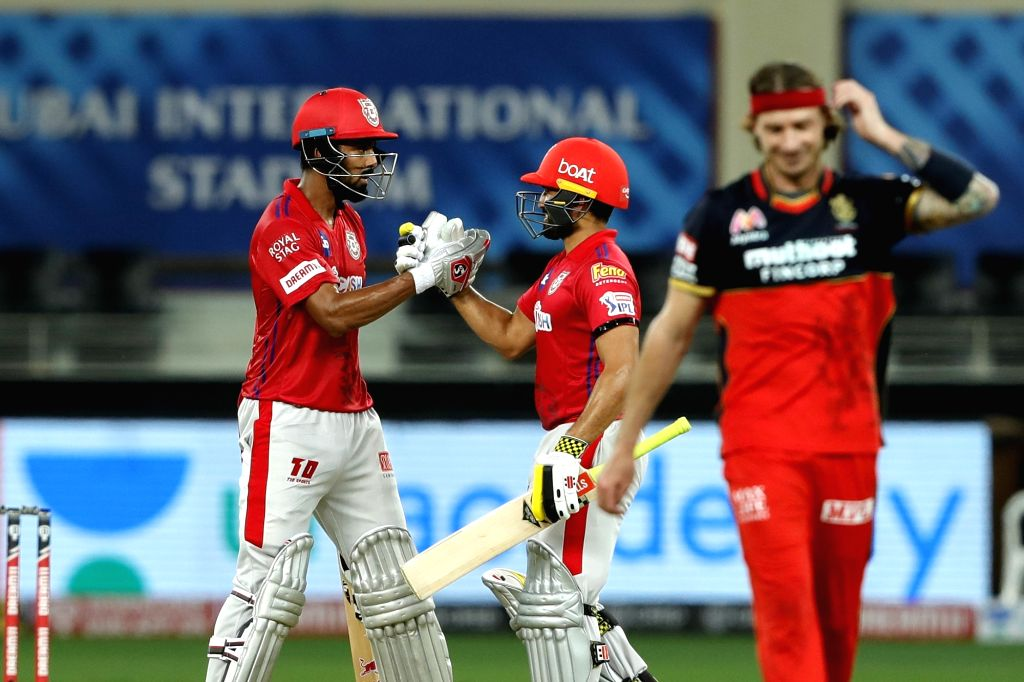 KL Rahul captain of Kings XI Punjab and Karun Nair of Kings XI Punjab during match 6 of season 13, Dream 11 Indian Premier League (IPL) between Kings XI Punjab and Royal Challengers Bangalore held at ...