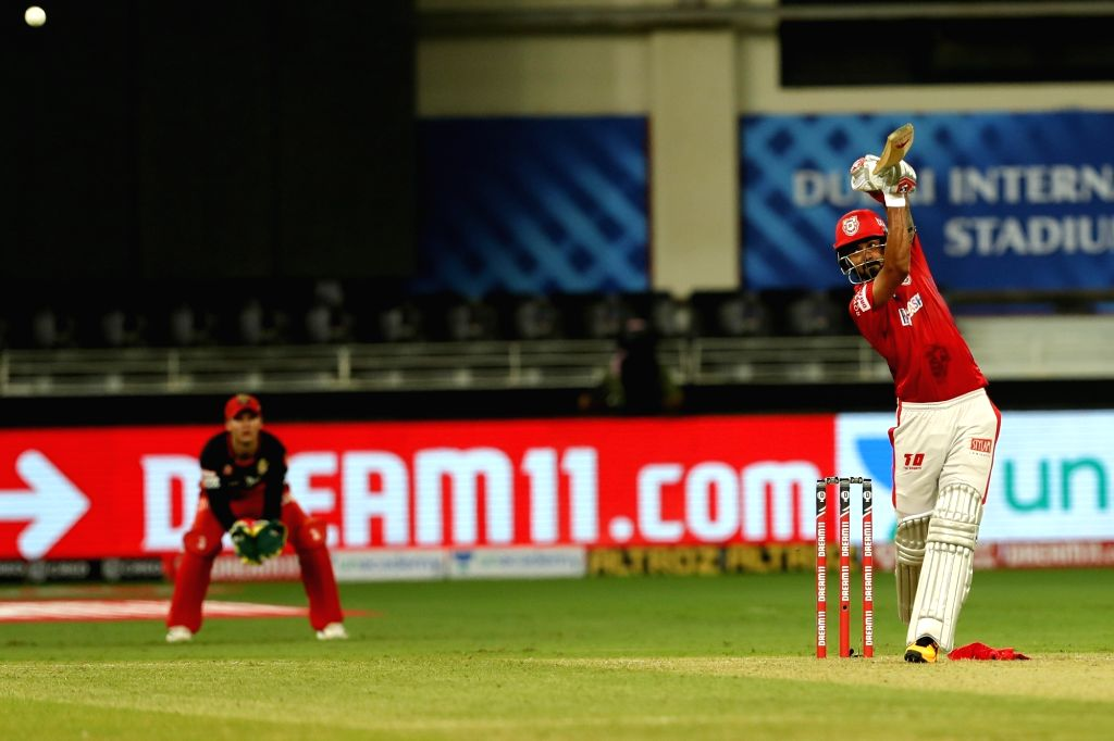 KL Rahul captain of Kings XI Punjab batting during match 6 of season 13, Dream 11 Indian Premier League (IPL) between Kings XI Punjab and Royal Challengers Bangalore held at the Dubai International ...