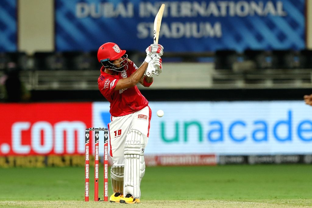 KL Rahul captain of Kings XI Punjab batting during match 6 of season 13, Dream 11 Indian Premier League (IPL) between Kings XI Punjab and Royal Challengers Bangalore held at the Dubai International Cricket Stadium, Dubai in the United Arab Emirates o