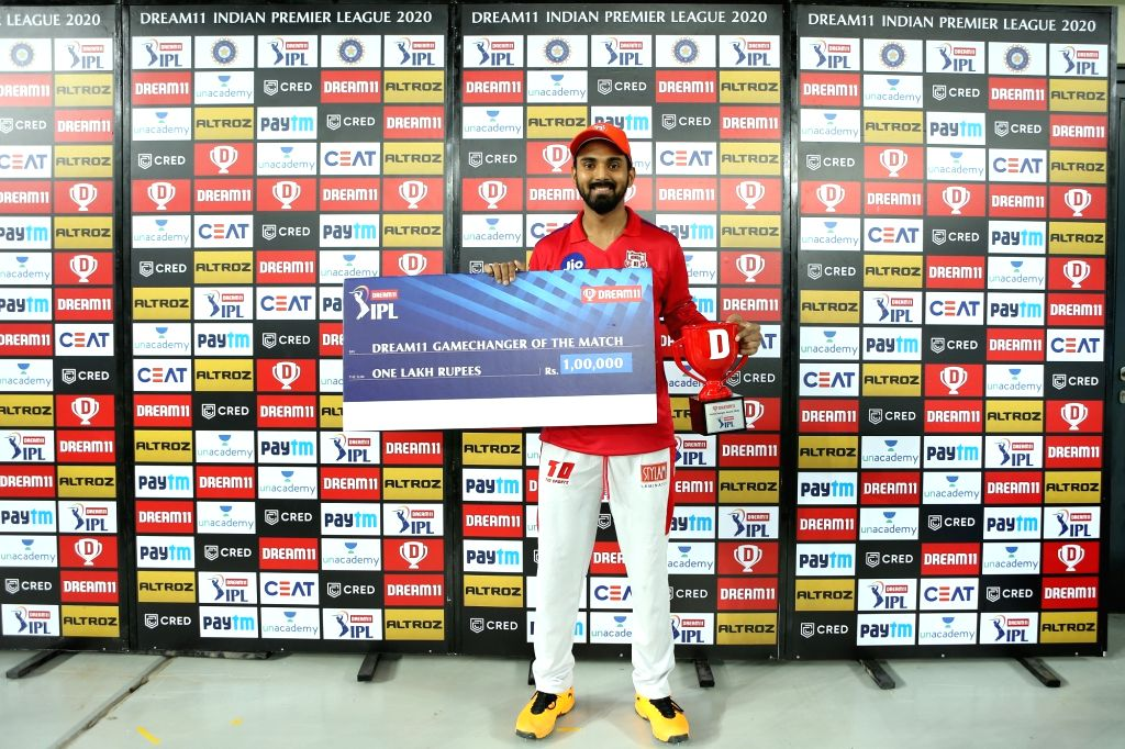 KL Rahul captain of Kings XI Punjab is man of the match and Gamechanger of the match during match 6 of season 13 of the Dream 11 Indian Premier League (IPL) between Kings XI Punjab and Royal ...