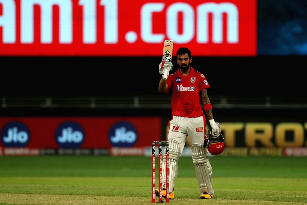 KL Rahul captain of Kings XI Punjab made century and celebrating during match 6 of season 13, Dream 11 Indian Premier League (IPL) between Kings XI Punjab and Royal Challengers Bangalore held at the Dubai International Cricket Stadium, Dubai in the U