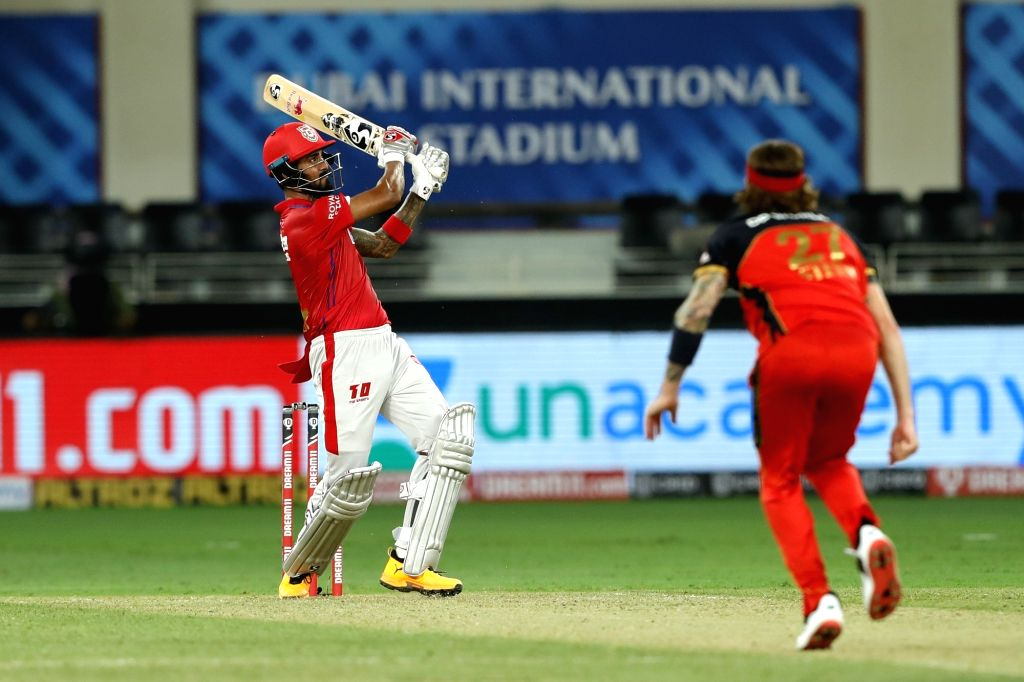 KL Rahul captain of Kings XI Punjab playing a shot at Dream 11 IPL held at the Dubai International Cricket Stadium, Dubai in the United Arab Emirates on the 24th September 2020.