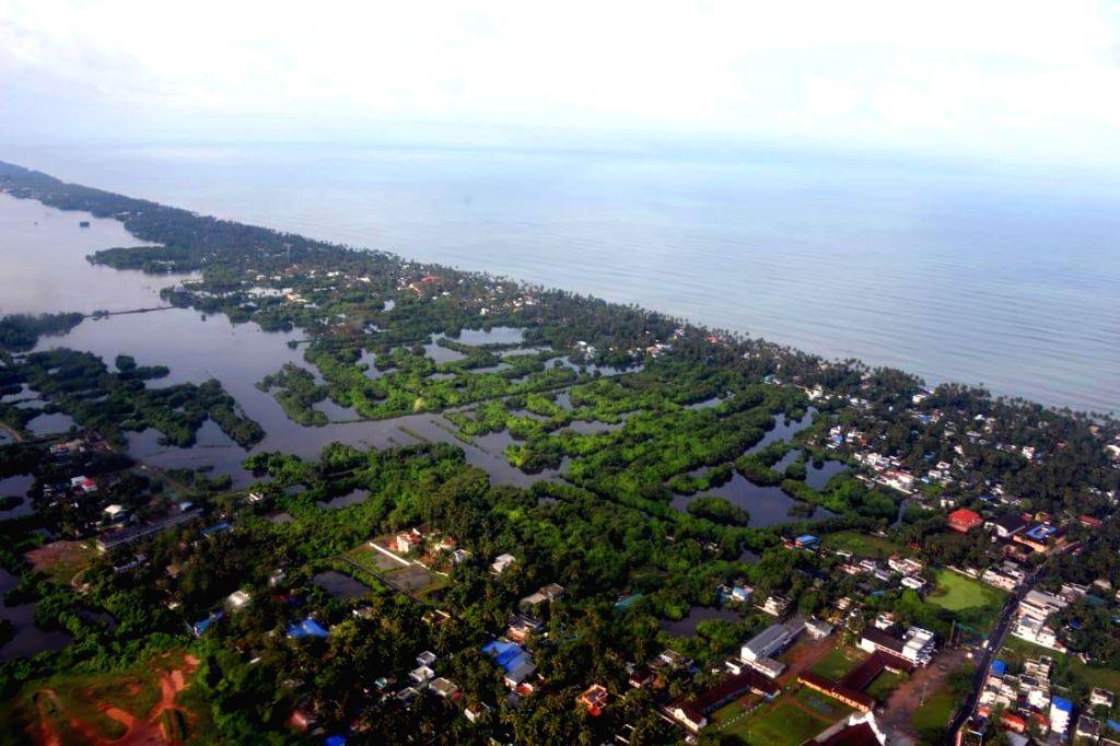 Kochi: An aerial view of flood hit Kochi's north coastline, Kerala on Aug 11, 2019. (Photo: IANS)