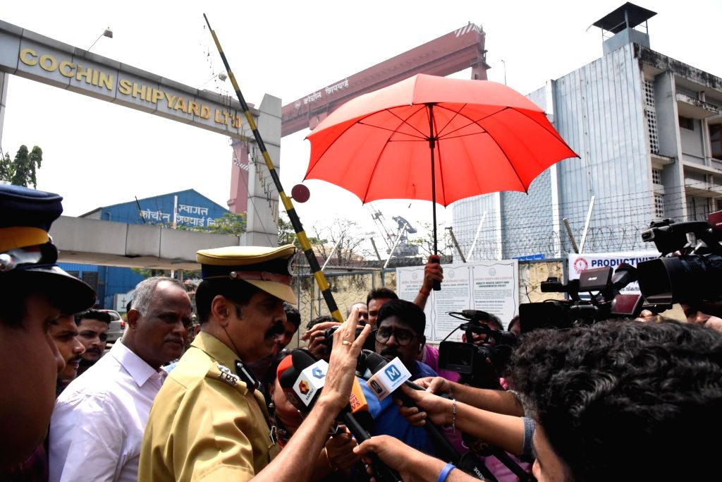 Kochi City Police Commissioner MP Dinesh talks to press after five persons were killed and a dozen others injured in the blast inside an Oil and Natural Gas Corporation (ONGC) tanker at ...