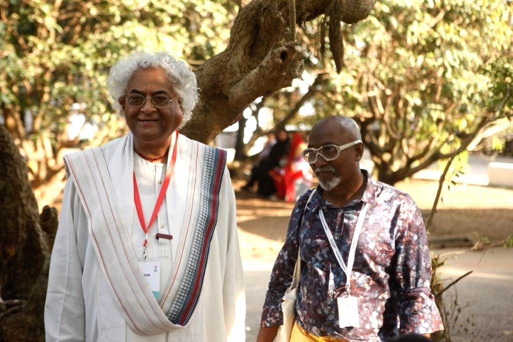 KBF president Bose Krishnamachari with leading designer Rajeev Sethi at the Kochi-Muzirs Biennale in Kochi on on Dec 15, 2014.