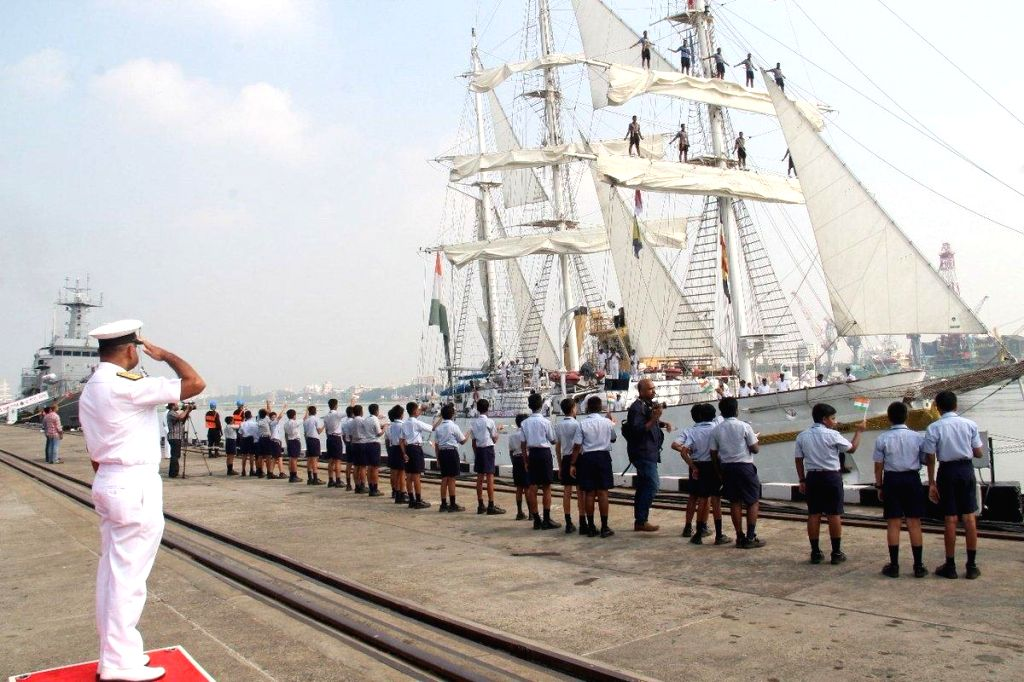 :Kochi: The sail training ship of Indian Navy, INS Tarangini, being accorded a grand reception after it completed a seven month long sail across the world, at naval base in Kochi on Oct 30, 2018. ...
