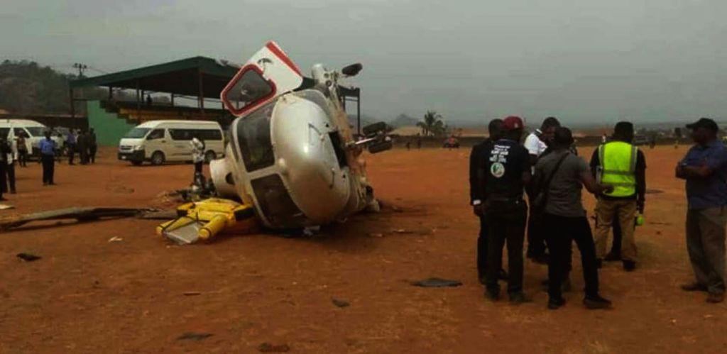 KOGI (NIGERIA), Feb. 2, 2019 Photo taken on Feb. 2, 2019 shows the crashed helicopter in Kabba, Kogi state, Nigeria. Nigerian Vice President Yemi Osinbajo on Saturday survived a ...