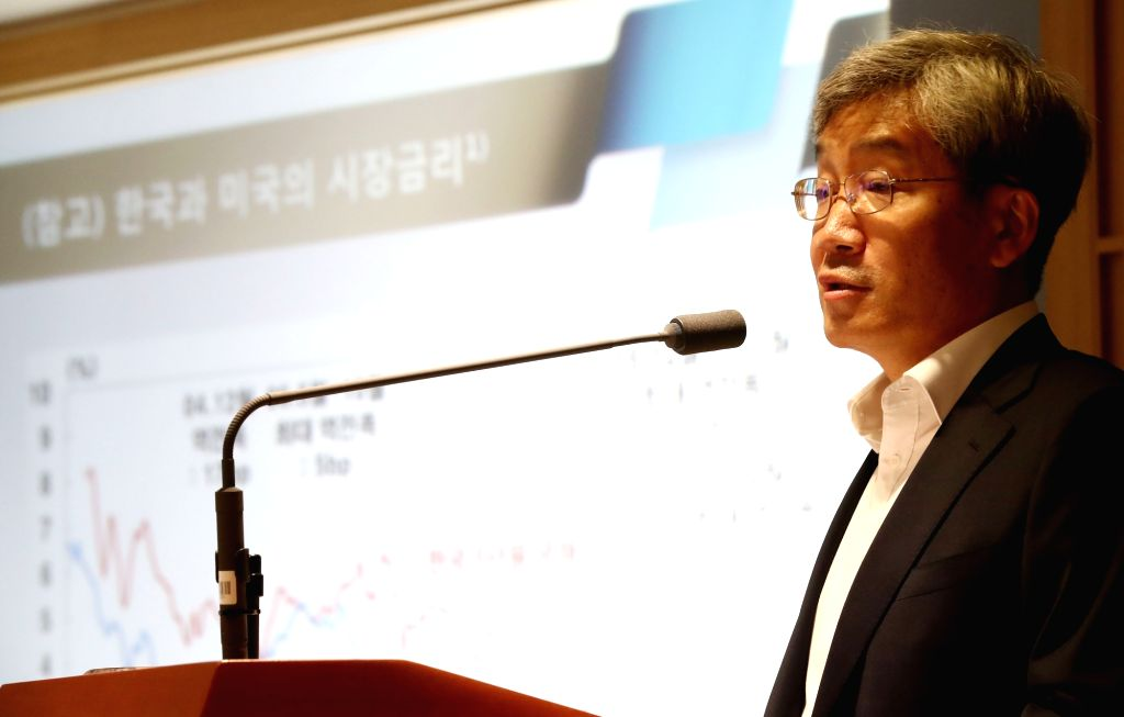 Koh Seung-bum, a member of Bank of Korea's monetary policy board, holds a press briefing in Seoul on July 18, 2018. Koh, considered a dovish member, said the central bank needs to look at ...